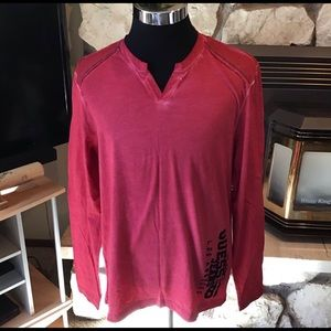 Guess. Red long sleeve V neck tee